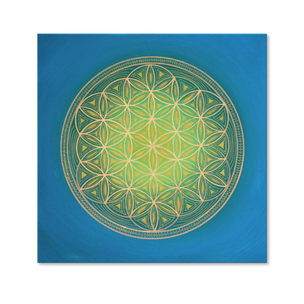 "Flower of Life ""Indian spirit"" wall art in gold - hand painted from size 40x40 cm"