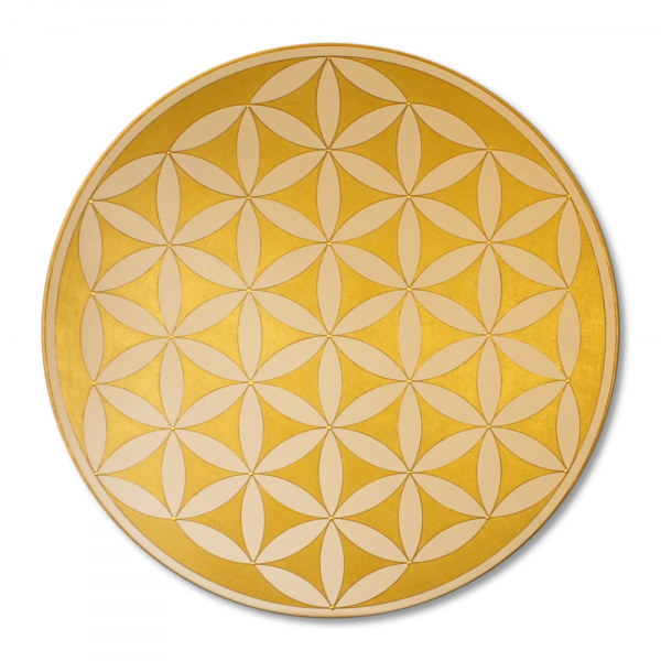 "Flower of Life 'Gold' wall art in gold - handpainted from size 11,81"" round"