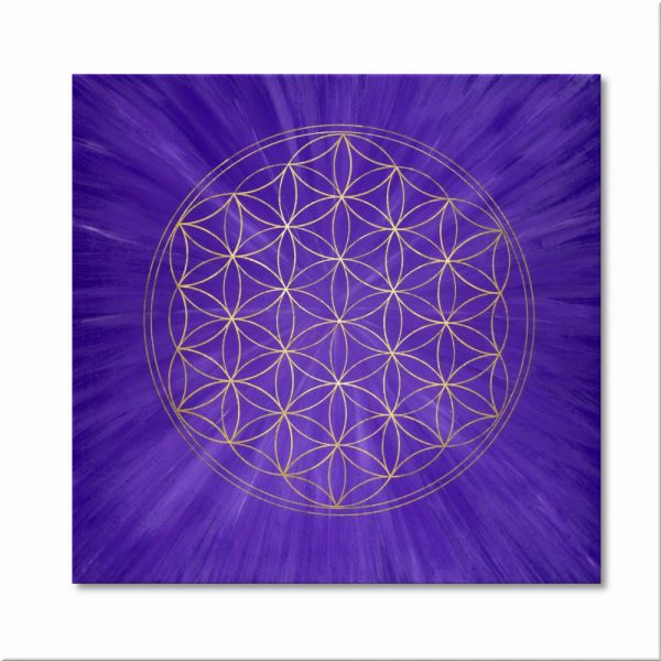 "Flower of Life ""Intuition"" wall art in gold - hand painted from size 11,81"" x 11,81"""