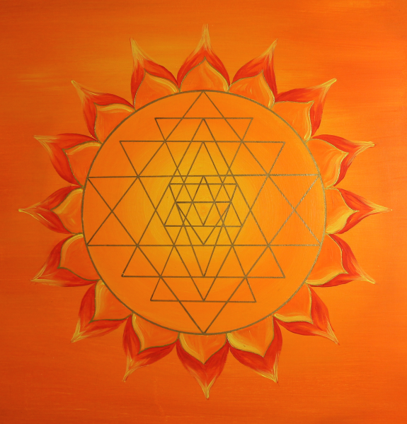 "Mural Sri Yantra Gold ""Yoga Yantra"" - energy picture hand painted from 19,69"" x 19,69"""