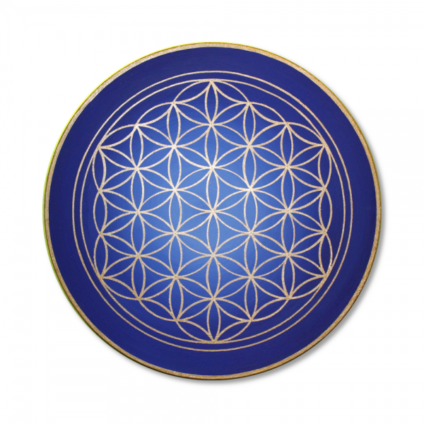 "Flower of Life 'Evolution of the Soul' wall art in gold - handpainted from size 11,81"" round"