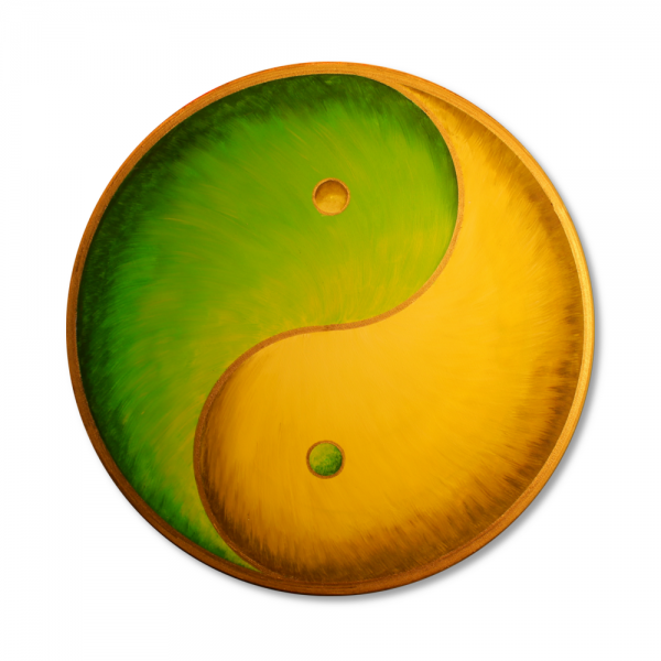 "Wall Mural Yin Yang Gold ""Green Earth"" - energy picture hand painted from 11,81"""