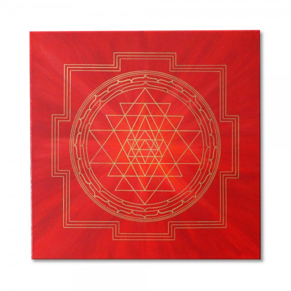 "Mural Sri Yantra Gold ""Self-Realization"" - energy picture hand painted from 19,69"" x 19,69"""