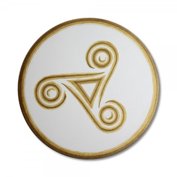 "Canvas print Celtic triskele in gold ""Trinity"" - energy picture hand painted from 11,81"" round"