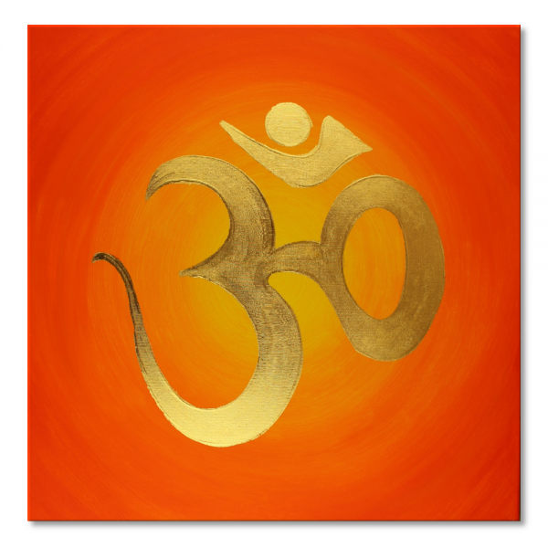 "Canvas Art ""Gold OM"" - 24ct gold leaf - energy picture hand painted - from 40 × 40 cm"