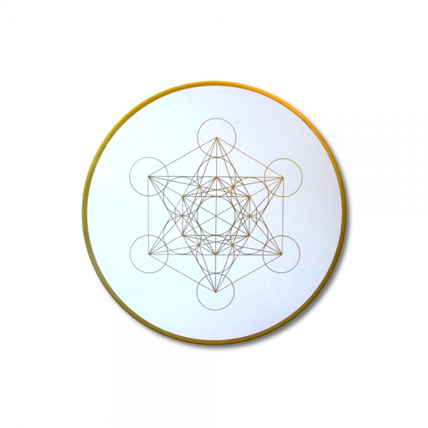 "Canvas Art Metatron´s Cube Gold ""knowledge"" - energy picture hand painted from 19,69"" round"