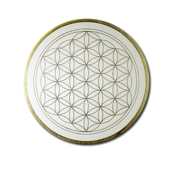 "Flower of Life 'Clarity' wall art in gold - handpainted from size 11,81"" round"