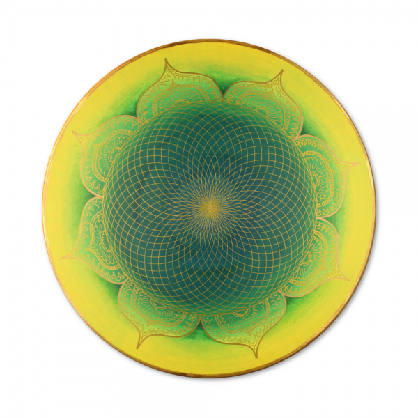 "Canvas art Mandala Gold ""Heart of the Orient"" - energy picture hand painted from 19,69"" round"
