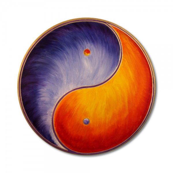 "Wall Mural Yin Yang Gold ""Balance"" - handpainted from size 11,81"" round"
