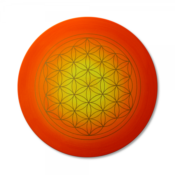 "Flower of Life 'Sunset' wall art in gold - handpainted from size 11,81"" round"